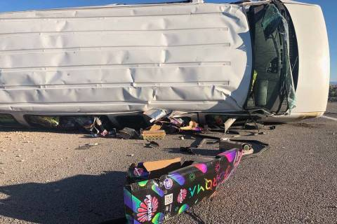 One person died in a crash on U.S. Highway 95 north of Searchlight, Monday, July 1, 2019. The v ...