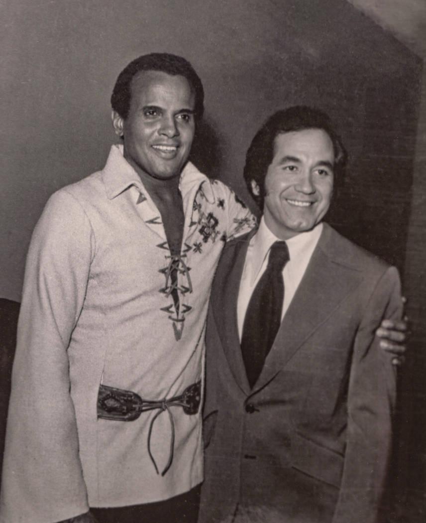 Harry Belafonte and Trini Lopez at the Las Vegas Hilton in Las Vegas in 1971. (Westgate)