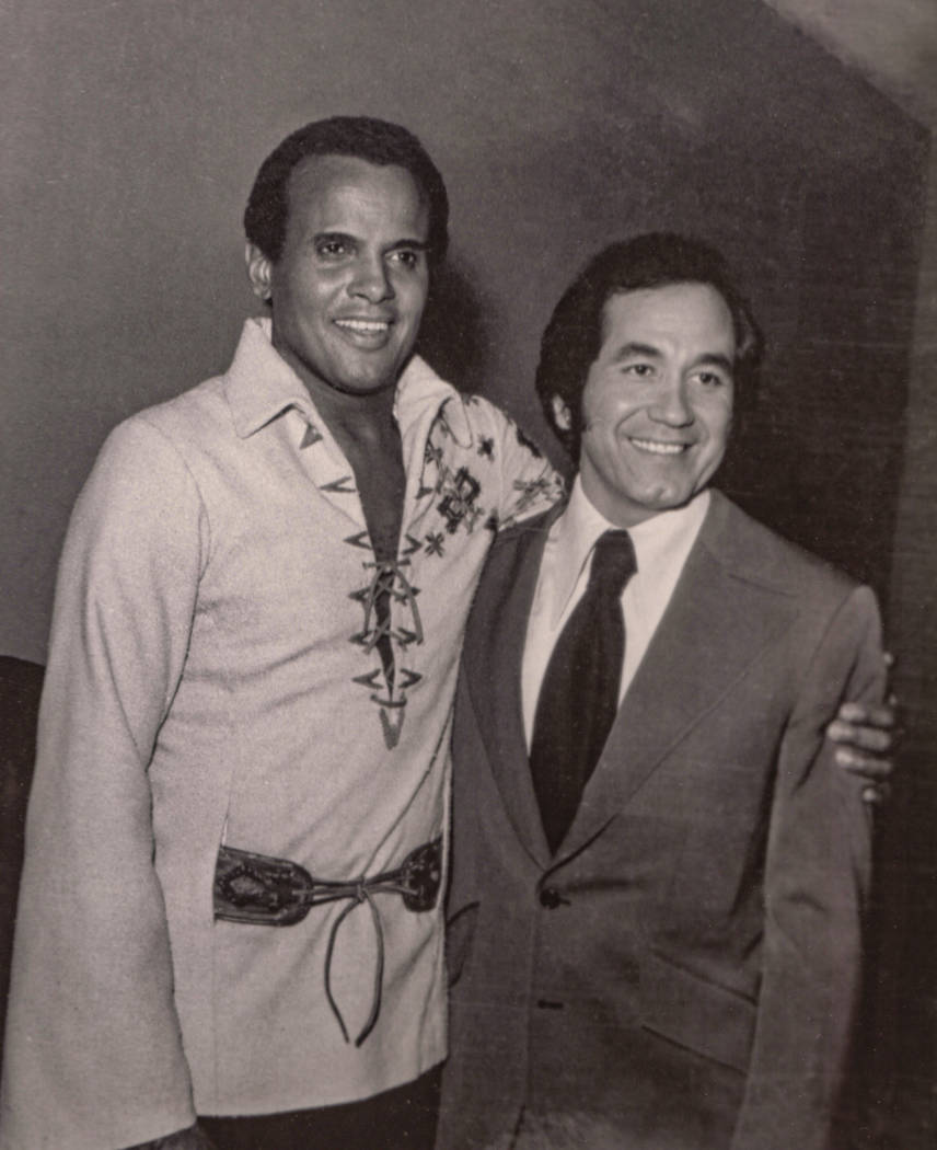 Harry Belafonte and Trini Lopez at the Las Vegas Hilton in Las Vegas in 1971. (Westgate)