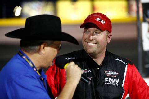 Chris Clyne, right, is interviewed after a recent Super Late Models victory at the Bullring at ...