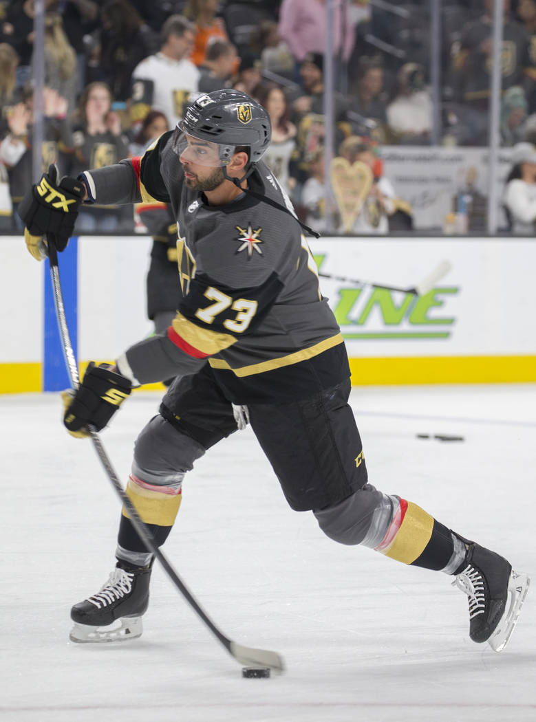 Golden Knights center Brandon Pirri (73) on Friday, March 29, 2019, at T-Mobile Arena, in Las V ...