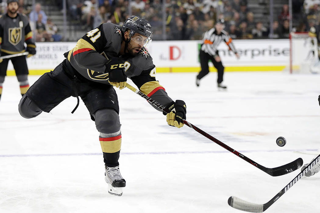 Vegas Golden Knights center Pierre-Edouard Bellemare (41) shoots against the San Jose Sharks du ...