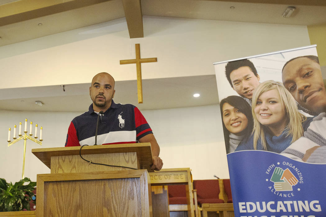 Jovan Jackson, 27, speaks during the implementing of Assembly Bill 431 at First AME Church on J ...