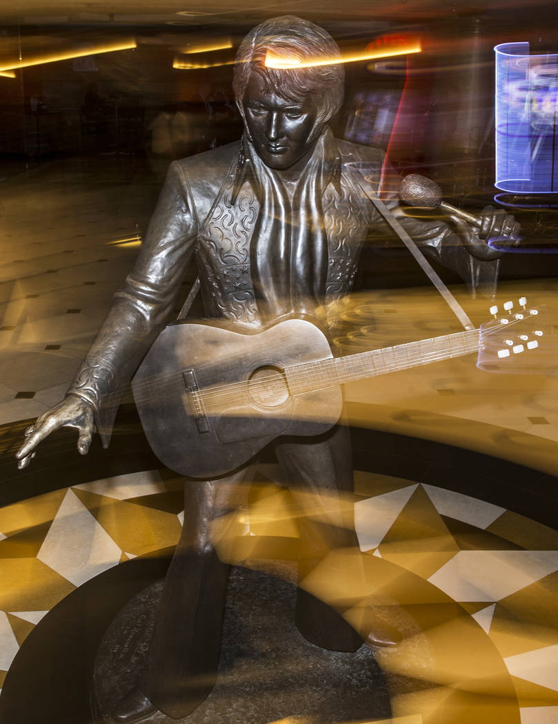 An Elvis Presley statue in the lobby of the Westgate on Thursday, July 11, 2019, in Las Vegas. ...