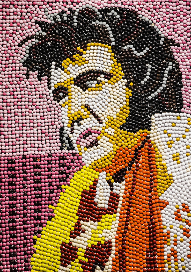 An Elvis Presley portrait made of M&M's at the administrative offices of the Westgate on Th ...