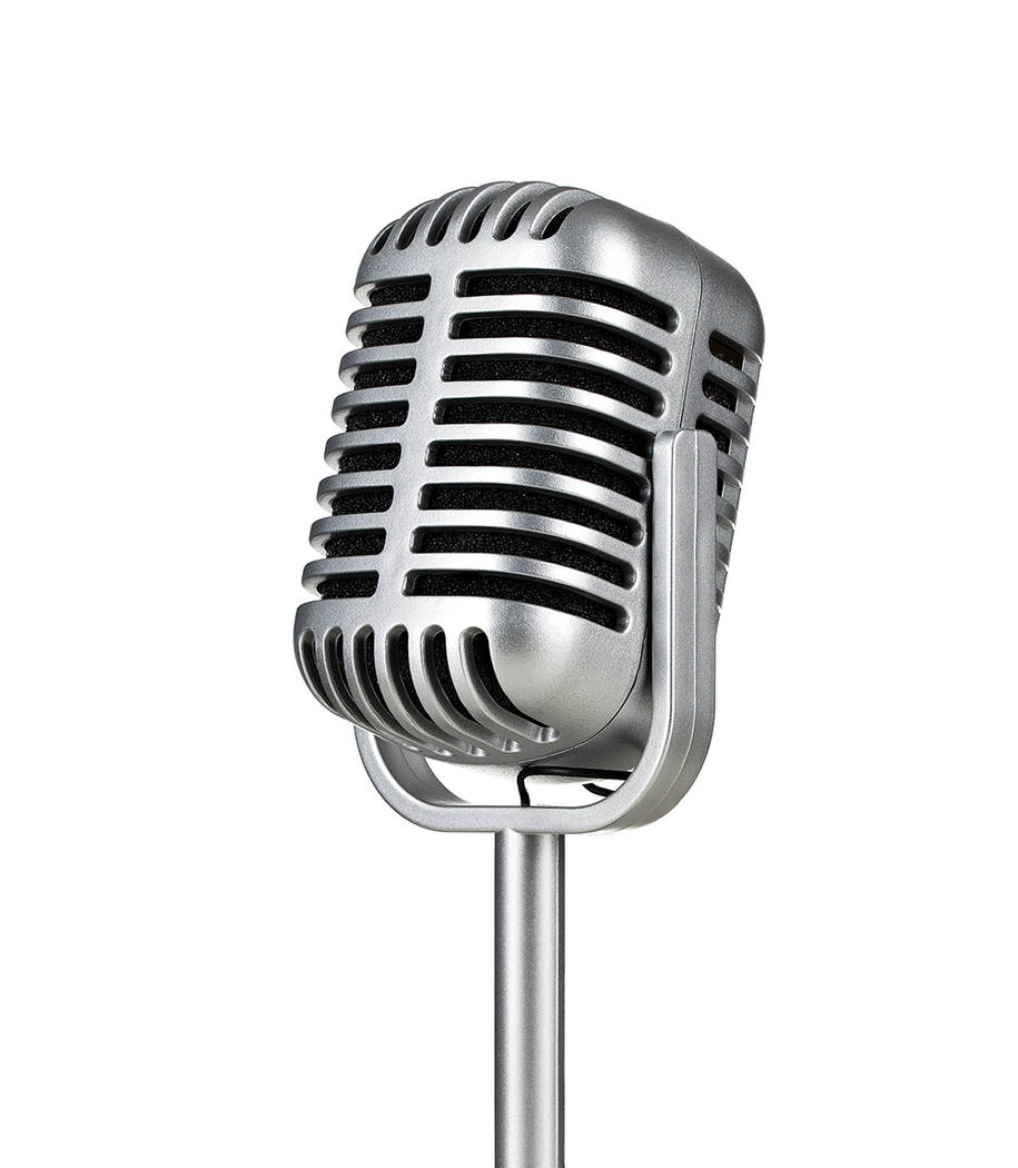 Vintage silver microphone isolated on white background