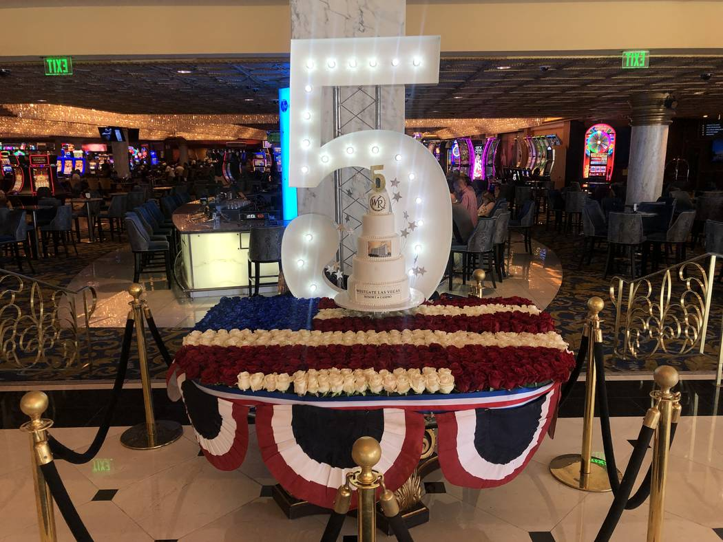 A cake and flower display marking the fifth anniversary of Westgate Las Vegas' ownership of the ...