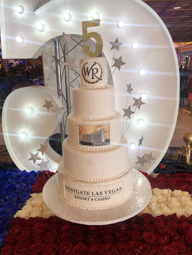 A cake marking the fifth anniversary of Westgate Las Vegas' ownership of the former Las Vegas H ...