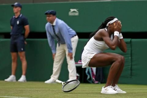 "United States' Cori ""Coco"" Gauff reacts after beating United States's Venus Williams ..."