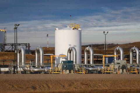 FILE - In this Nov. 6, 2015 file photo, a TransCanada's Keystone pipeline facility is seen in H ...