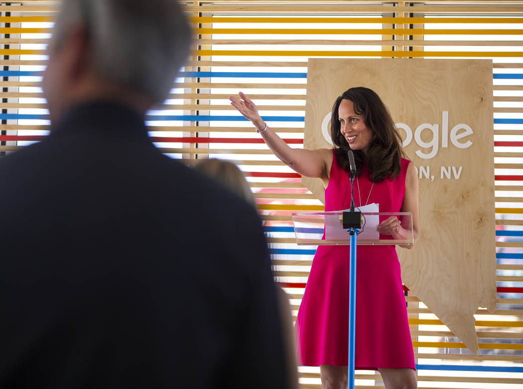 Jacquelline Fuller, vice president of Google and president of Google.org, welcome dignitaries w ...