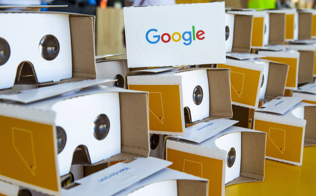 Google Cardboard VR Headsets 3D Box, virtual reality glasses, for the taking during a Google Ne ...