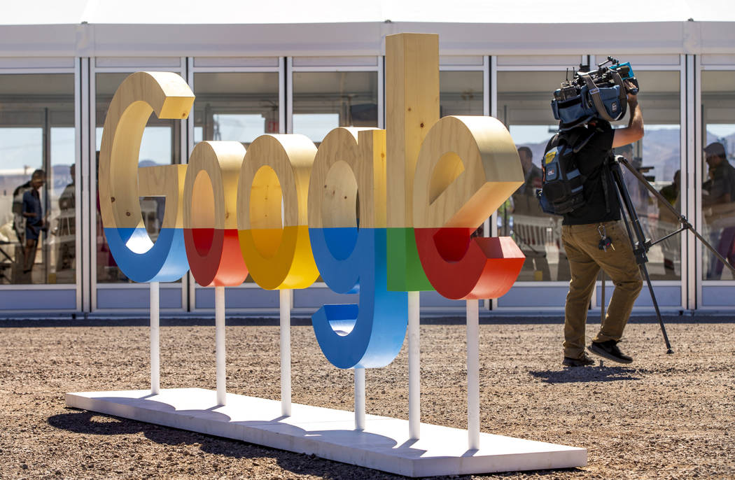 The construction area with wooden Google sign on display during a Google Nevada data center inv ...