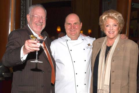 Former Mayor Oscar Goodman, from left, chef Gustav Mauler and Mayor Carolyn Goodman (Review-Jo ...