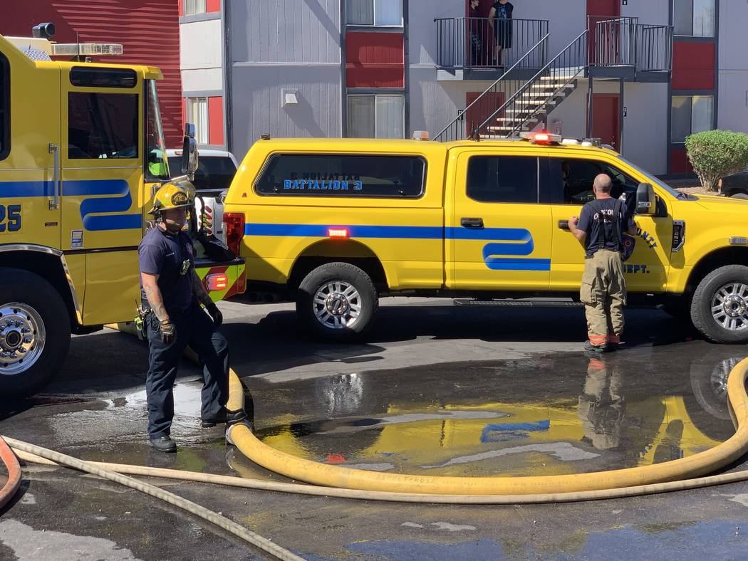 The Clark County and Las Vegas fire departments respond to a fire at an apartment complex at 51 ...
