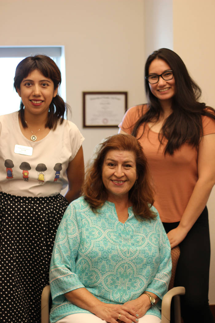Elsa Lopez and Monserrath Hernandez with Rocio Rodriguez Martinez for the Latinx Voices of Sout ...