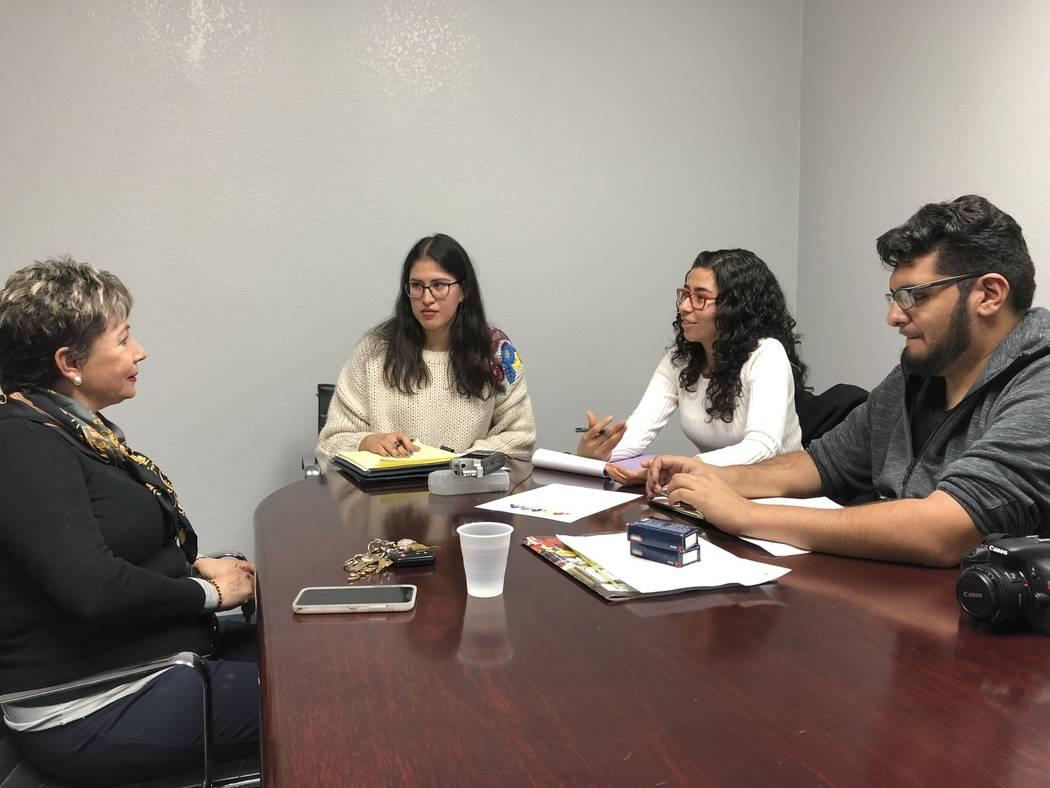Nathalie Martinez, Maribel Estrada and Rodrigo Vazquez, students with the Latinx Voices of Sout ...