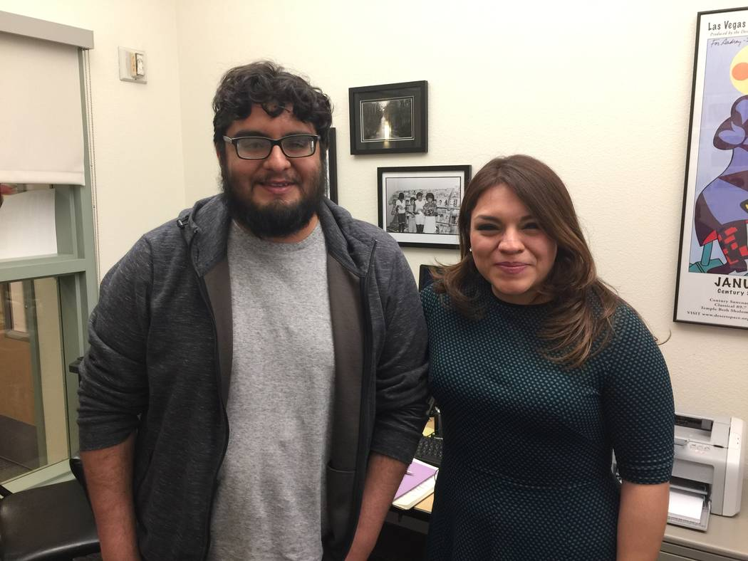 Rodrigo Vazquez, a student with the Latinx Voices of Southern Nevada after an interview with Ya ...