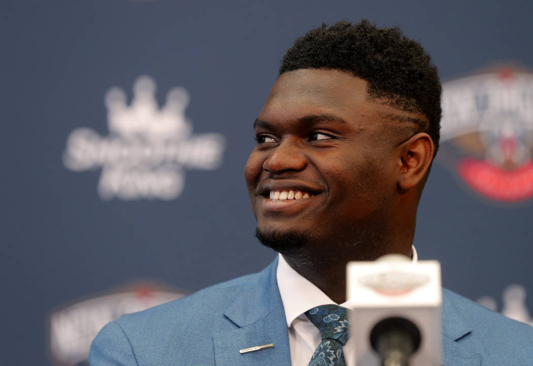 New Orleans Pelicans first-round NBA draft pick Zion Williamson smiles at his introductory news ...