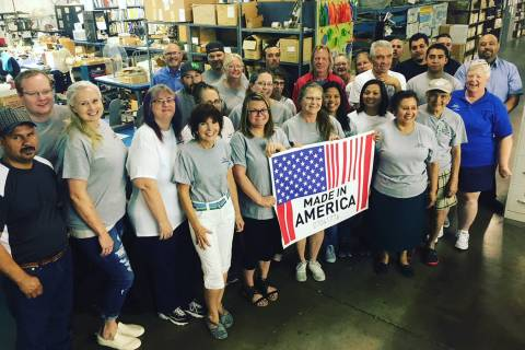 Boulder City workers at the Fisher Space Pen Co. which will participate in a Made in America Pr ...