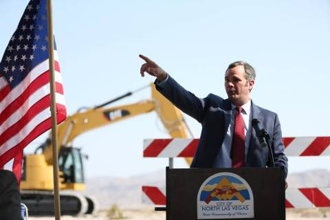 North Las Vegas City Manager Ryann Juden points during ceremonies to begin construction of a wa ...