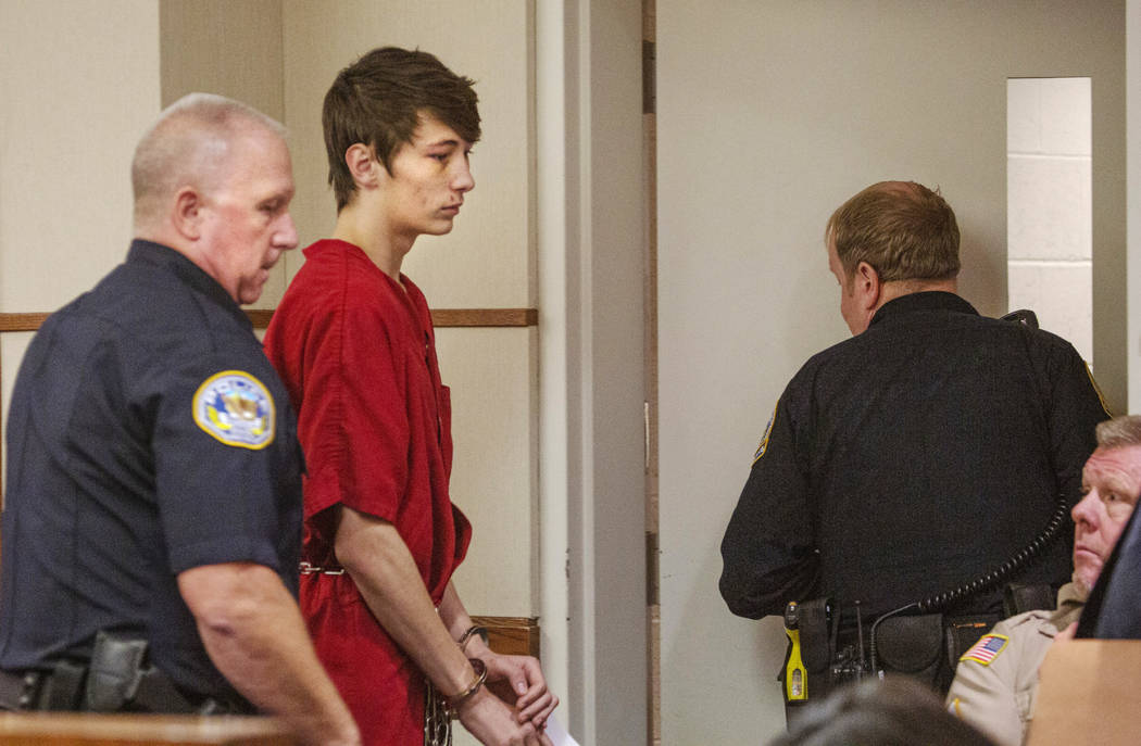 Noah Hadley, 18, during his preliminary hearing at Henderson Justice Court on July 2, 2019 in H ...