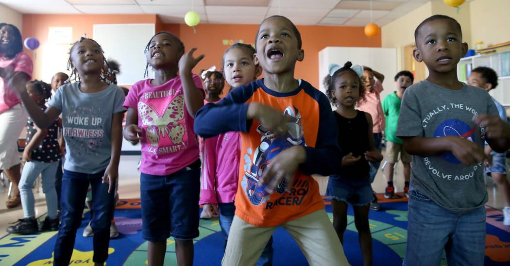 Mo Fasehun's kindergarten class, including from left, Maliya Shoeboot, Lamiya Thomas, Catherine ...
