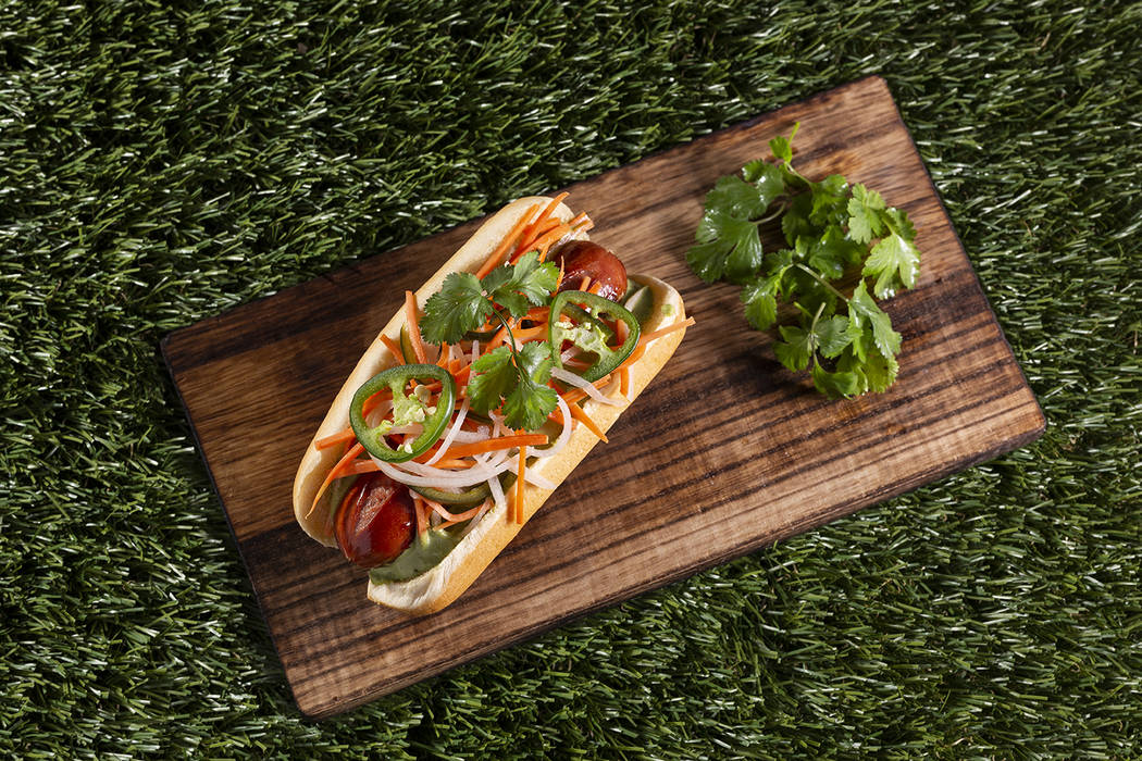 The signature hot dogs called Flydog created by Chef Brian Howard of Sparrow + Wolf. (Summerlin)