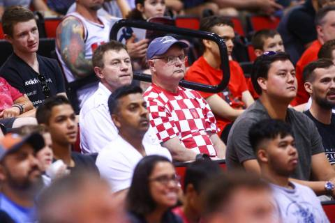 Croatia fans Milan Grcevic, center left, and Nikola Cvitkovic, center right, watch a basketball ...