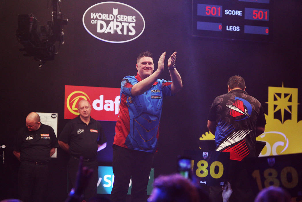 Daryl Gurney aplauds the audience before 2019 Dafabet US Darts Masters at Mandalay Bay on July ...