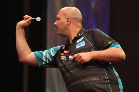 Rob Cross takes aim during the 2019 Dafabet US Darts Masters at Mandalay Bay on July 4, 2019 in ...