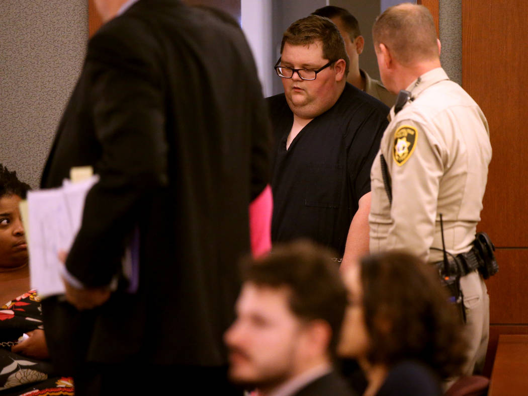 Security guard Brian William Love arrives in court at the Regional Justice Center in Las Vegas ...