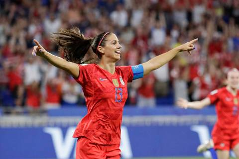 United States' Alex Morgan celebrates after scoring her side's second goal during the Women's W ...
