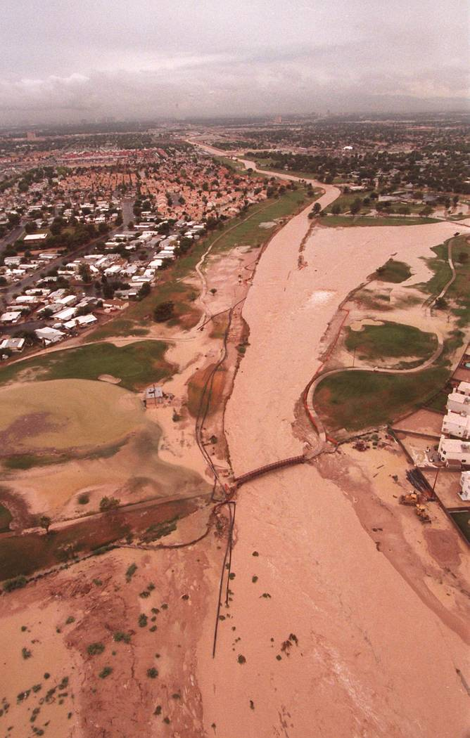 Flood covered Desert Rose Golf Course during the major part of the flooding on Thursday July 8, ...