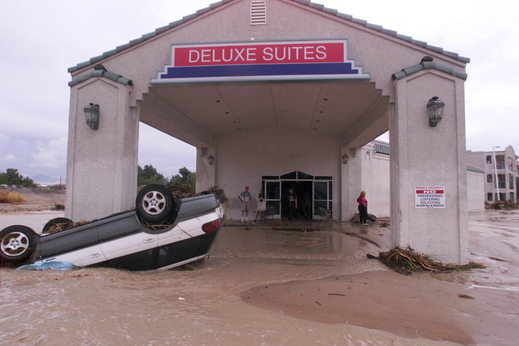 An automobile sits in front of the Ramada Deluxe Suites on Boulder Highway. (Las Vegas Review-J ...