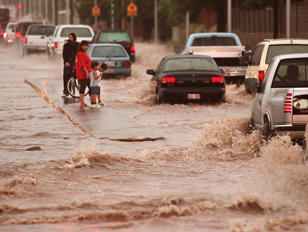 A flooded intersection at Washington and Pecos. (Las Vegas Review-Journal)
