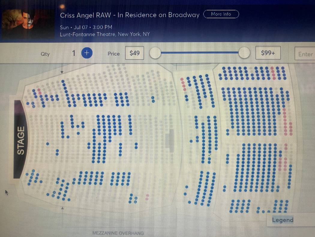 A screen grab of Criss Angel's ticket sales for his closing performance at Lunt-Fontanne Theatr ...