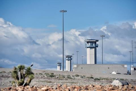 Watch towers at the High Desert State Prison, a part of the State of Nevada Department of Corre ...