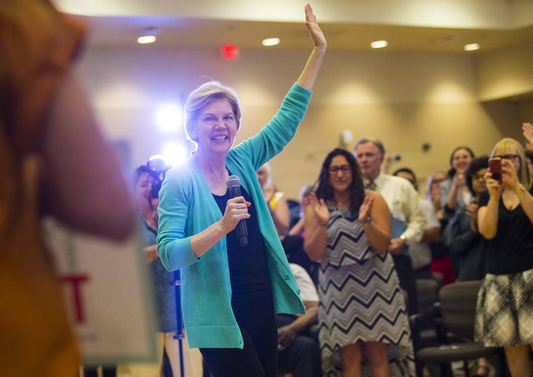 Democratic presidential candidate Sen. Elizabeth Warren, D-Mass., speaks during a campaign even ...
