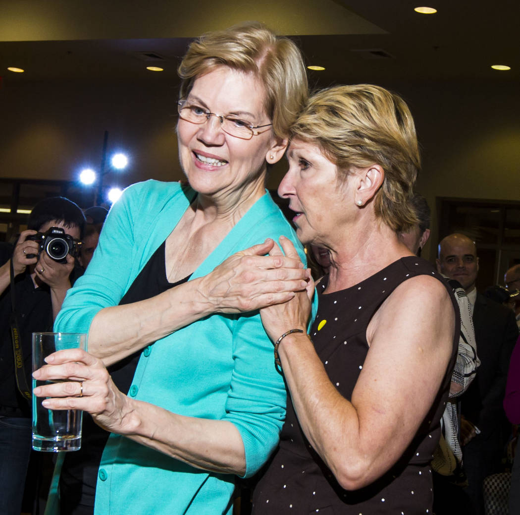 Chris Giunchigliani, a former Clark County Commissioner, talks with Democratic presidential can ...
