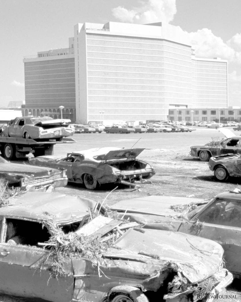 On July 3, 1975, floodwaters rampaged through the parking lot at Caesars Palace on the Las Vega ...