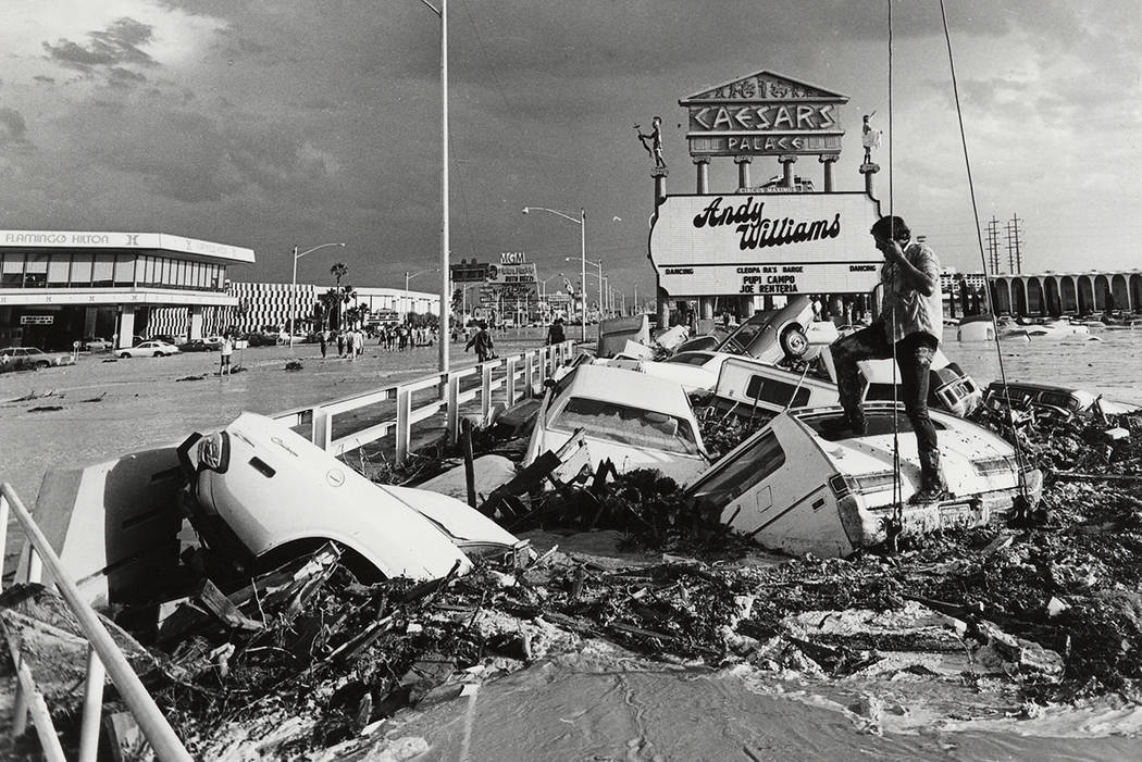 On July 3, 1975, raging floodwaters cannonballed down the Flamingo Wash, a major tributary of t ...