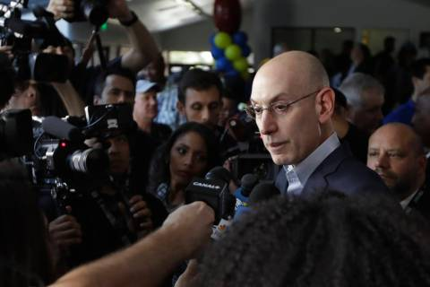 NBA Commissioner Adam Silver answers questions from media at the new NBA Cares Learn & Play ...