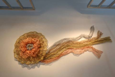 "Denise Duarte's art piece ""The Rosette"" at Sahara West Library Art Gallery on July 2, 2019, in ..."