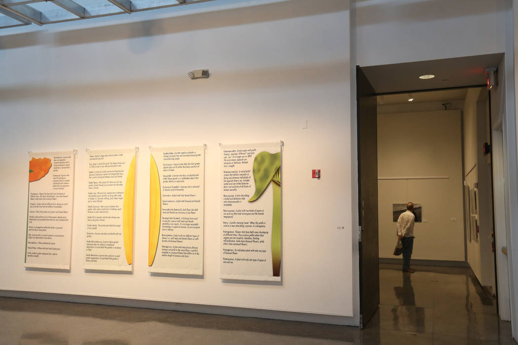 Denise Duarte's glossary on vinyl panels at Sahara West Library Art Gallery on July 2, 2019, in ...