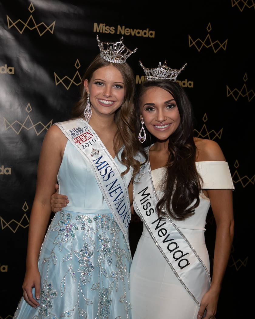 Miss Nevada Outstanding Teen Molly Martin with Miss Nevada Nasya Mancini at International Theat ...