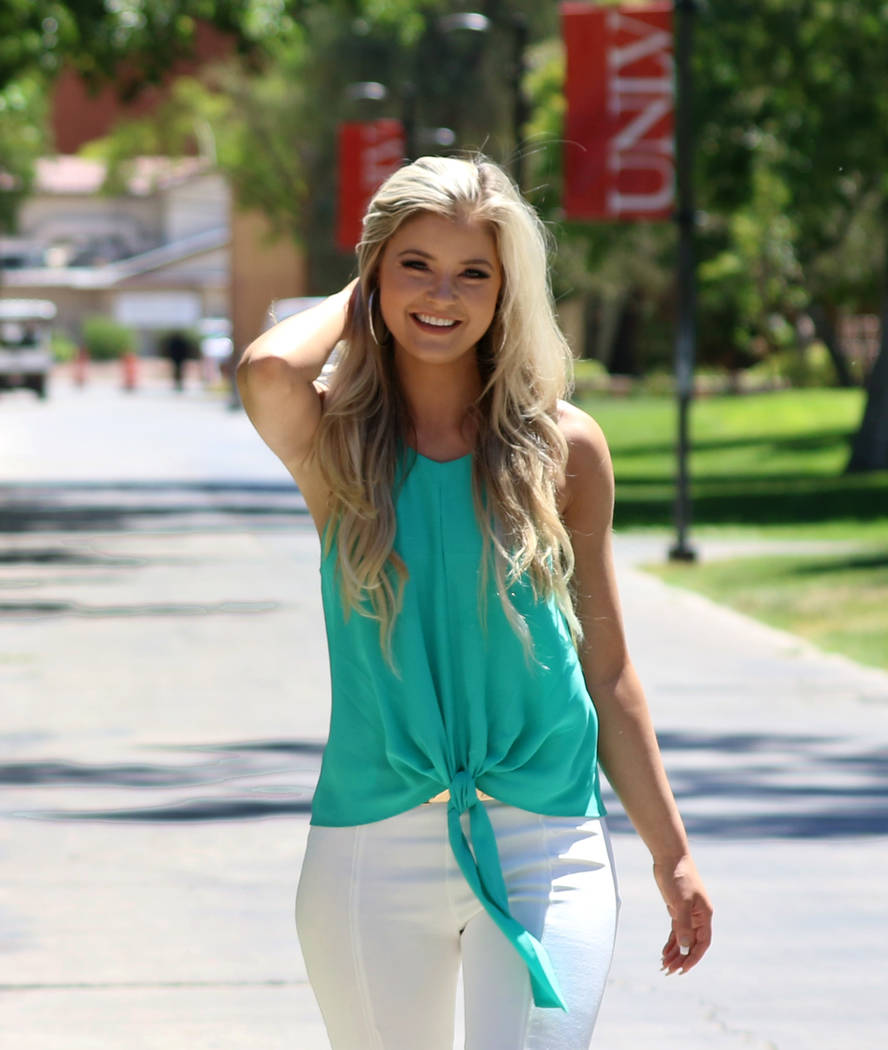 Hannah Williams, PhD student at UNLV who in June was second runner-up in the 2019 Miss Hooters ...