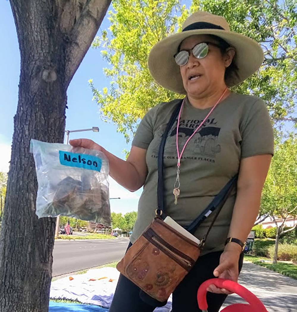 Ellane Nelson shows her daughter's collection of rocks in a plastic bag that she has used for s ...