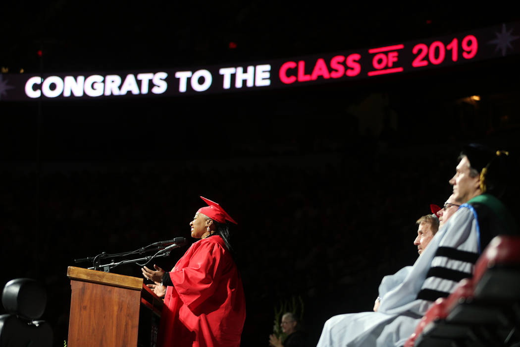Student commencement speaker Tara Trass gives a speech during the UNLV commencement ceremony at ...