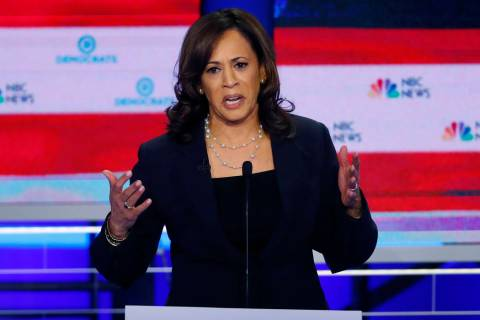 Democratic presidential candidate Sen. Kamala Harris, D-Calif., speaks during the Democratic pr ...